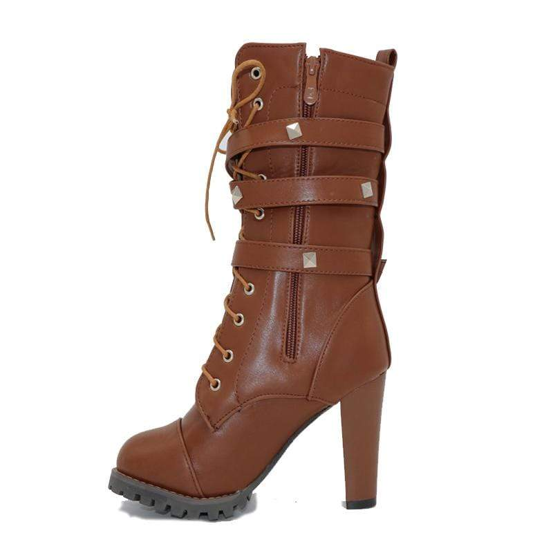 Boho Beach Hut Women's Footwear Brown / 4 High Heel Platform Buckle Zipper Rivets