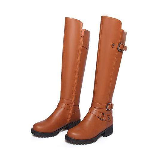 Boho Beach Hut Women's Footwear Brown Plush / 4 Waterproof Boots Knee High Equestrian- 4 Colors