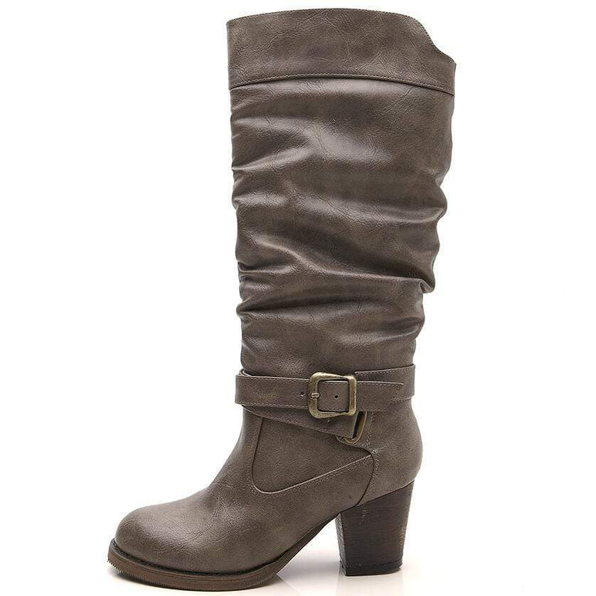 Boho Beach Hut Women's Footwear Gray / 6.5 Vintage Buckle Heel Boots- 3 Colors