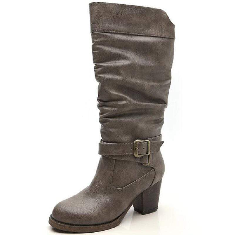 Boho Beach Hut Women's Footwear Gray / 6 Vintage Buckle Heel Boots- 3 Colors