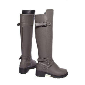 Boho Beach Hut Women's Footwear Gray Plush / 4 Waterproof Boots Knee High Equestrian- 4 Colors