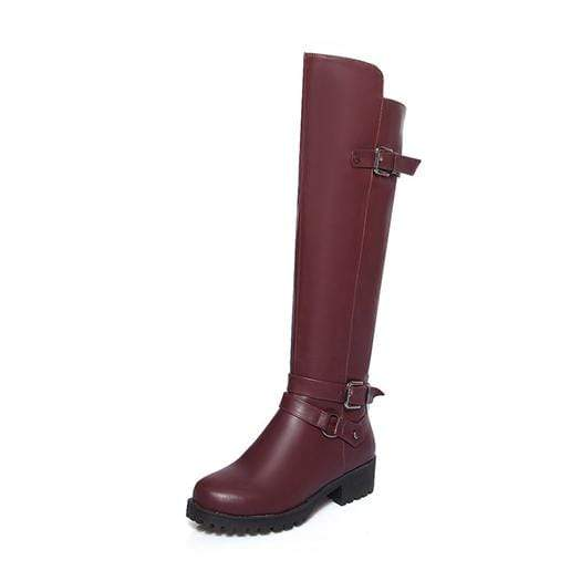 Boho Beach Hut Women's Footwear Red Plush / 4 Waterproof Boots Knee High Equestrian- 4 Colors