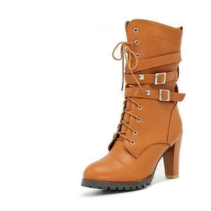 Boho Beach Hut Women's Footwear Tan / 4 High Heel Platform Buckle Zipper Rivets