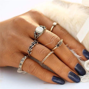 Boho Beach Hut Women's Rings Gold Vintage Style Ring Set