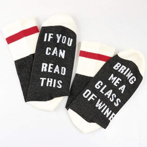 Boho Beach Hut Women's Socks Dark Gray / One Size Socks- If You can read this Bring Me a Glass of Wine