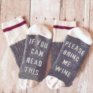 Boho Beach Hut Women's Socks Gray / One Size Socks- If You can read this Bring Me a Glass of Wine
