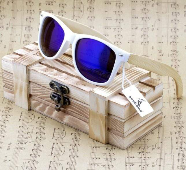 Boho Beach Hut Women's Sunglasses Blue Wooden Sunglasses with Bamboo & White Plastic Frame and Colorful Polarized Lens