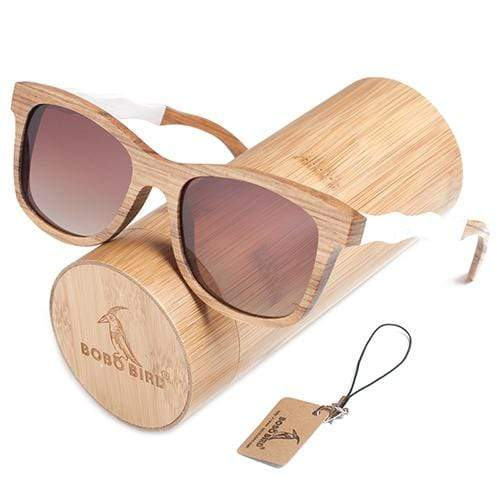 Boho Beach Hut Women's Sunglasses Brown Box 2 BOBO BIRD  Square Style Wooden Polarized Sunglasses