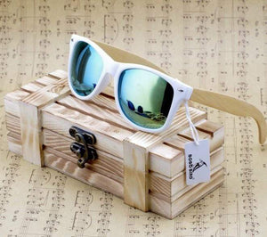 Boho Beach Hut Women's Sunglasses Green Wooden Sunglasses with Bamboo & White Plastic Frame and Colorful Polarized Lens