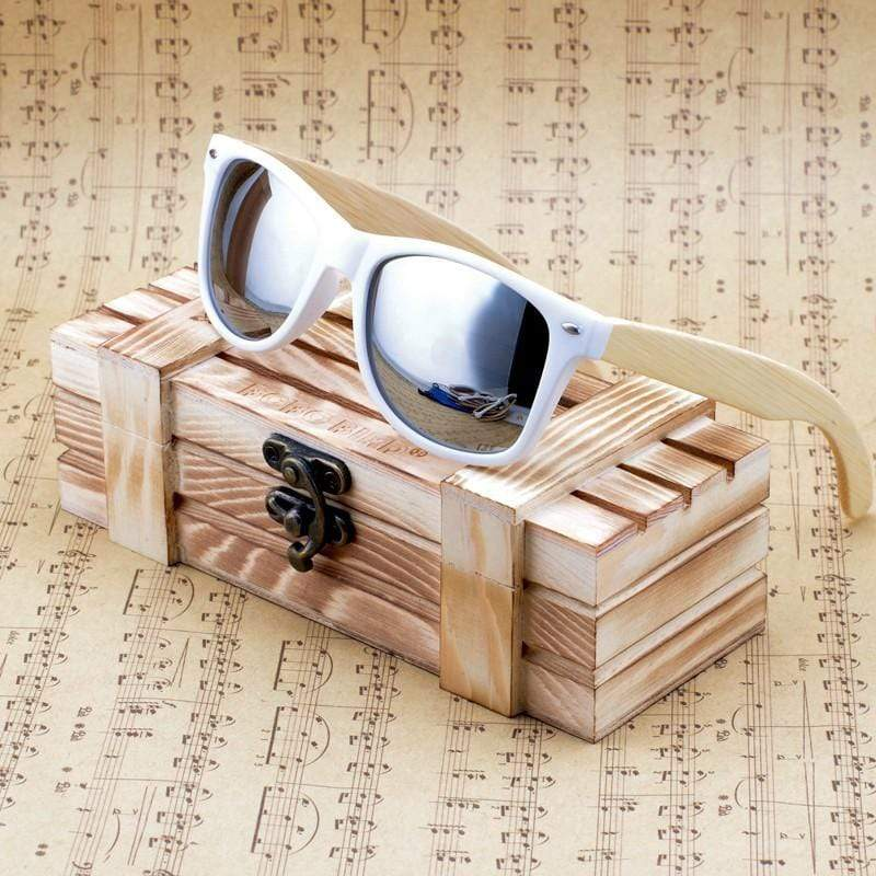 Boho Beach Hut Women's Sunglasses Silver Wooden Sunglasses with Bamboo & White Plastic Frame and Colorful Polarized Lens