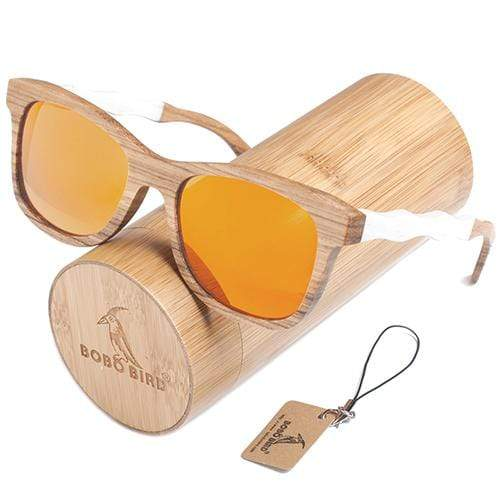 Boho Beach Hut Women's Sunglasses Yellow Box 2 BOBO BIRD  Square Style Wooden Polarized Sunglasses