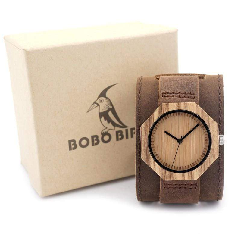 Boho Beach Hut Women's Watches Brown BOBO BIRD Watch Zebra Wood Quartz Watch