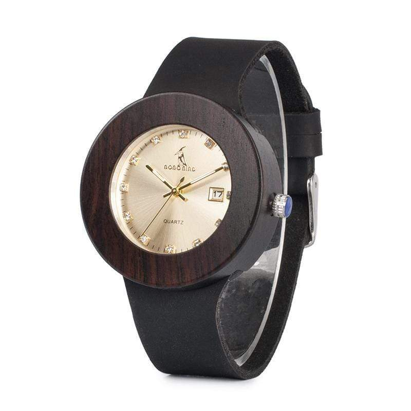 Boho Beach Hut Women's Watches Gold BOBO BIRD Fashion Bamboo Wooden Watch