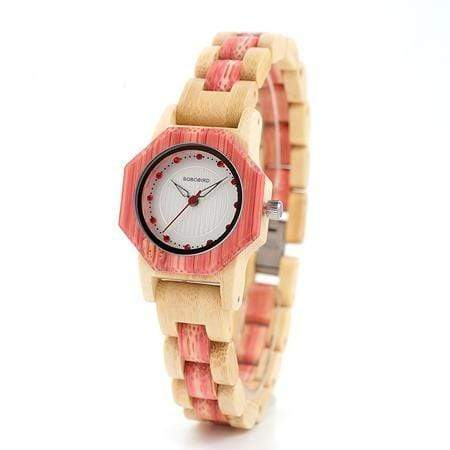 Boho Beach Hut Women's Watches Pink BOBO BIRD Natural Bamboo Wooden Watch