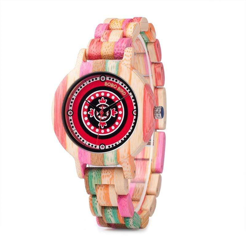 Boho Beach Hut Women's Watches Rainbow BOBO BIRD Rainbow Color Paint Wooden Watch