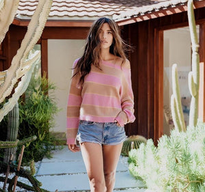 Fitshinling Holiday Store Pullovers Pink Striped Knit Sweater