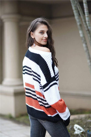 Fitshinling Holiday Store Pullovers Striped Bohemian Pullover Knit Sweater