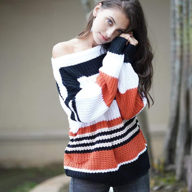 Fitshinling Holiday Store Pullovers White / S Striped Bohemian Pullover Knit Sweater