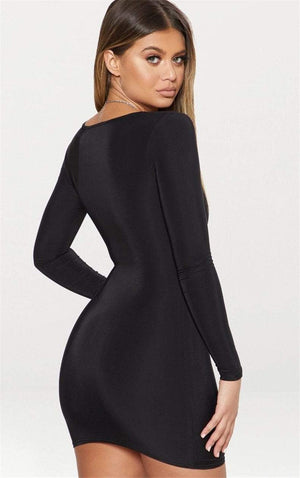 forefair Official Store Dresses Sexy Long Sleeve Club Mini Dress