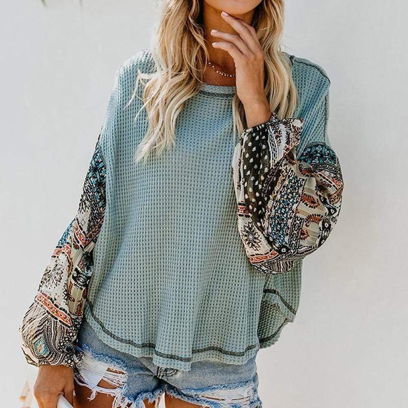 Garment&Accessories Store Blouses & Shirts Long Sleeve Patchwork Floral Print Top