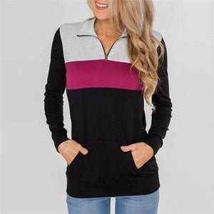 Sharemily Store Hoodies & Sweatshirts Hot Pink / S Long Sleeve Patchwork Pullover