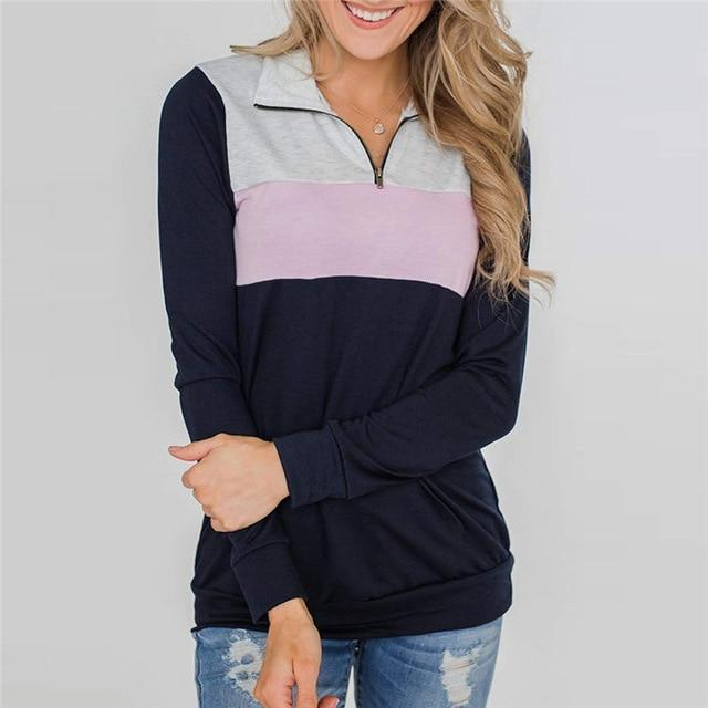 Sharemily Store Hoodies & Sweatshirts Light Pink / S Long Sleeve Patchwork Pullover