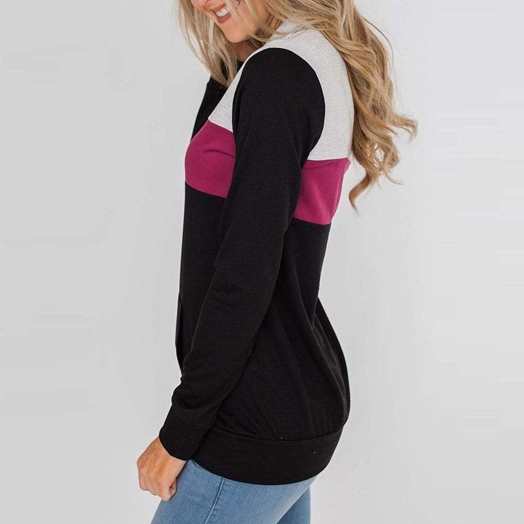 Sharemily Store Hoodies & Sweatshirts Long Sleeve Patchwork Pullover