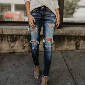 Single Taurus Store Jeans Blue / S Stretch Bleached Ripped Denim Jeans