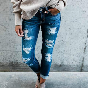 Boho High Waist Holey Skinny Jeans