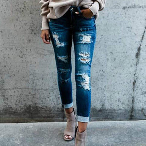 Single Taurus Store Jeans Boho High Waist Holey Skinny Jeans