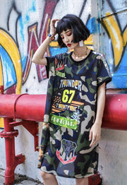 Women's Patchwork Camo Dress Oversized Tee - Exertion Inc