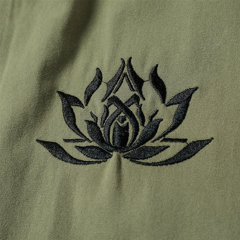 Lotus Embroidery Winter Trench Coat