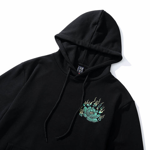 Emerald Tiger Embroidery Hoodie