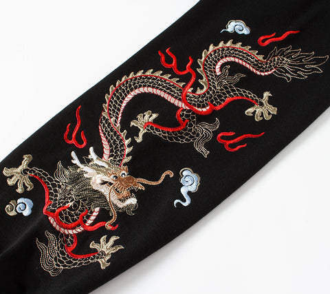 Flying Fire Dragon Embroidery Hoodie