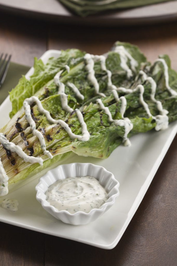 Romaine Salad on the Grill with Ranch Dressing from scratch