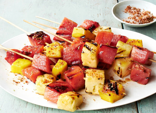 Grilled Watermelon, Pineapple and Mango Skewers with Chili and Lime