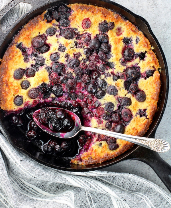 Grilled Blueberry Cobbler in a Skillet