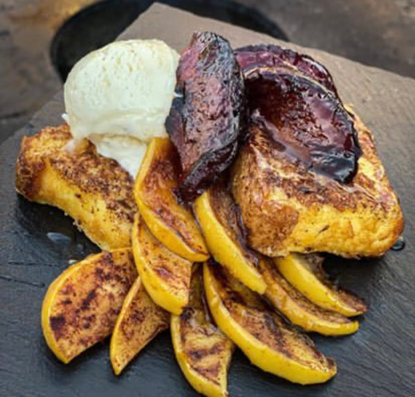 Grilled Angel Food Cake with grilled golden delicious apples and black plums.