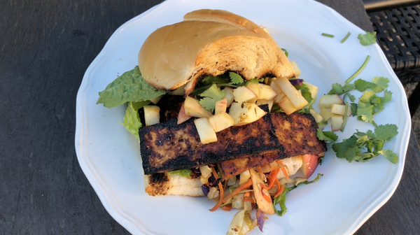 Vegan Crispy Tofu Bacon Burger on the Grill