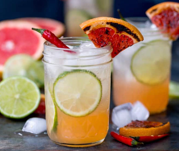 Spicy Charred Grapefruit and Ginger Fizz with Chili Syrup from the Grill