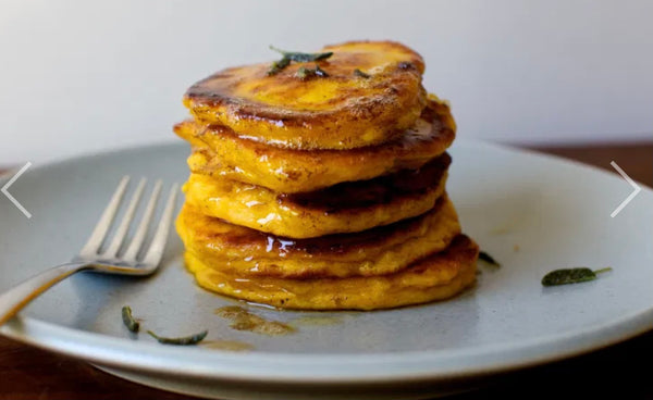 Winter Squash Pancakes with Crispy Sage and Brown Butter on the Grill