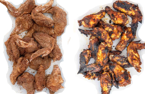 Before and After Grilling Dry Rub Chicken Wings