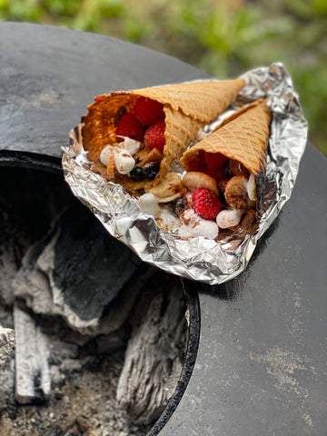 Marshmallow Filled Campfire Cones on the grill