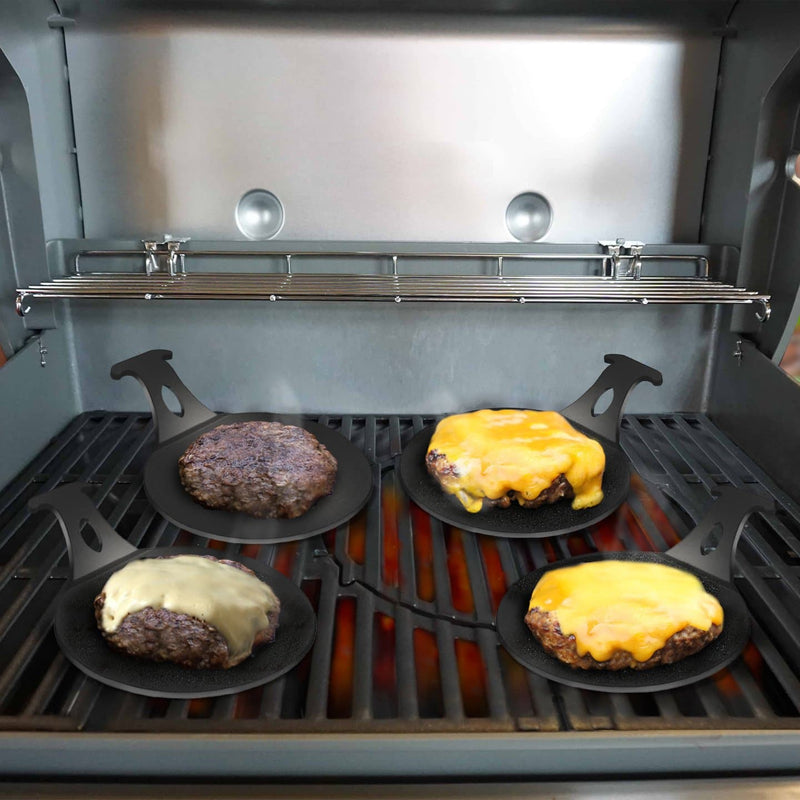 Grill Accessory For Perfect Burgers. Burger Pucks make it easy for everyone to grill their perfect burgers on any grill. - Arteflame Outdoor Charcoal Grill Griddle Combination.