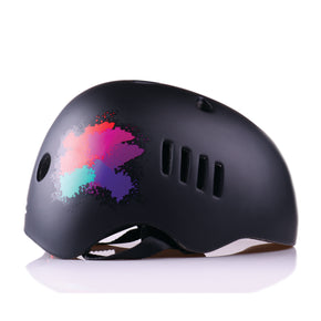 Kids bike helmet with punk design right view