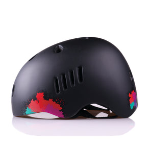 Kids bike helmet with punk design left view