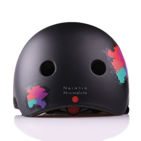 Kids bike helmet with punk design back view