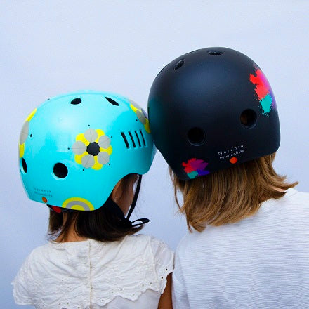 Kids bike helmet with boho chic and punk designs