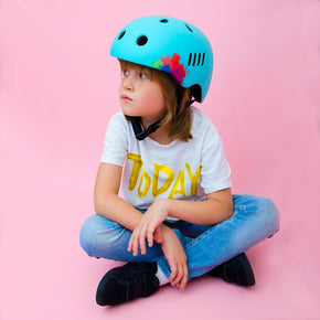 Kids bike helmet with blue punk design overall view