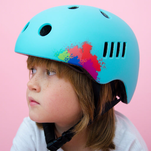 Kids bike helmet with blue punk design